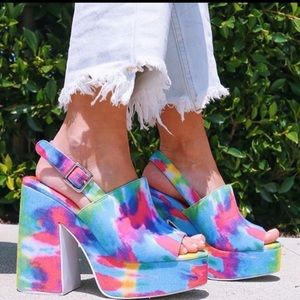 Jeffrey Campbell Mattix tie dye platform heels 6
